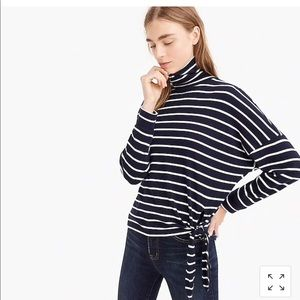 J crew navy stripe tie turtle neck
